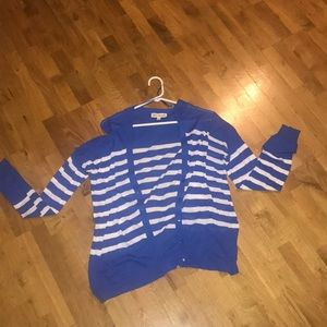 Striped royal blue and white cardigan